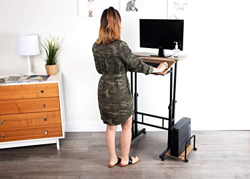 Mind Reader Mobile Sitting, Standing Desk Rolling Reversible Home Office Laptop Workstation with Side Storage, Locking Wheels, Large, Oak