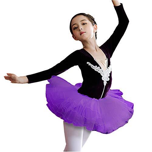 KsitH danskleding voor kinderen, balletrok voor meisjes, lange mouwen, herfst, winterkleding, voor kinderen, combinatie van fluweel, goudkleurig