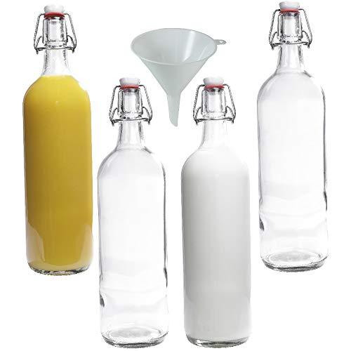 Viva Haushaltswaren - Botellas de Cristal (4 Unidades, con Cierre, 1 L, rellenables, Incluye Embudo de 12 cm de diámetro)