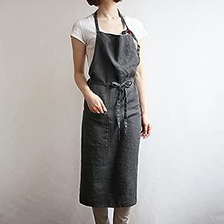 Linen apron 4 color, Unisex adjustable easy care house simple long apron Grey