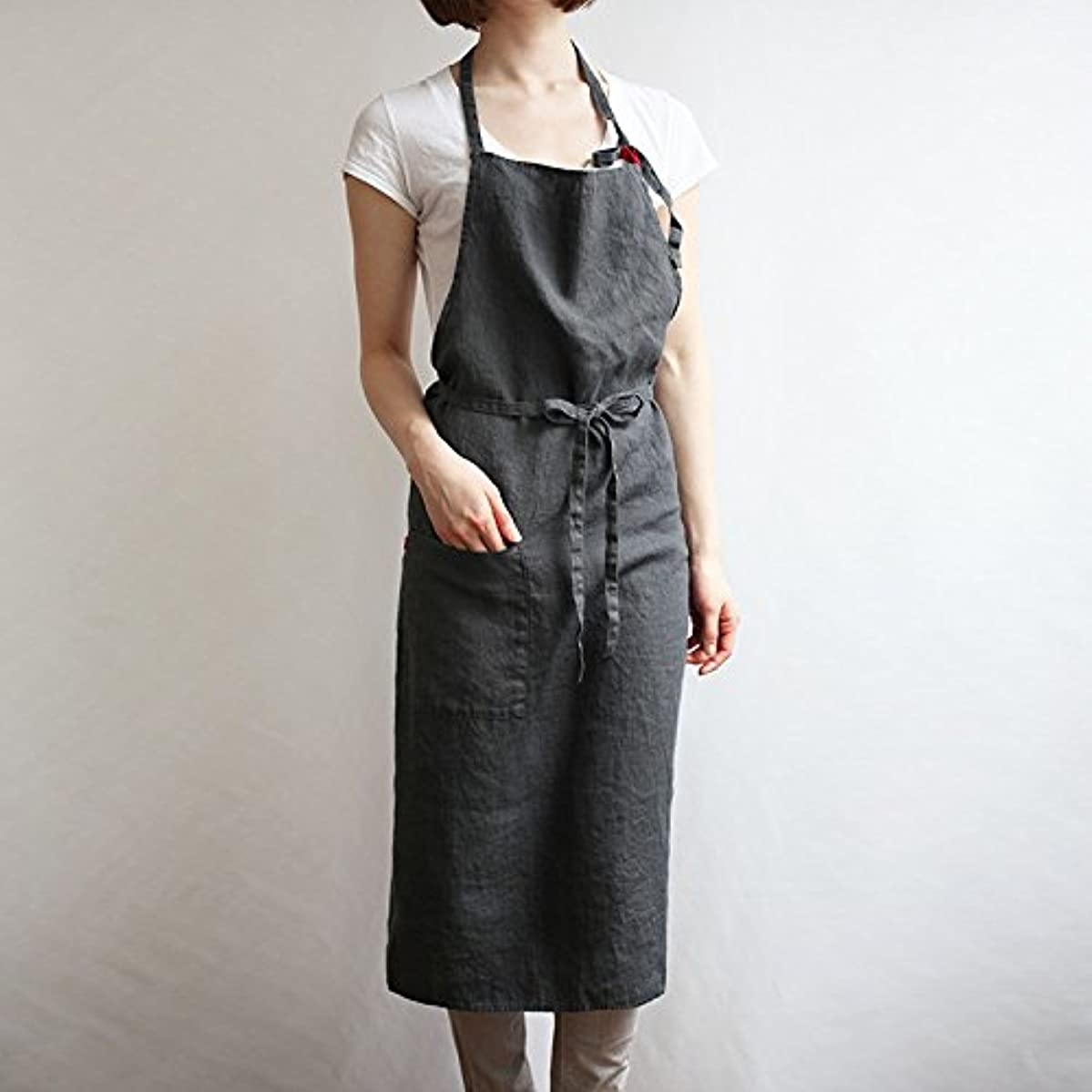 Linen apron 4 color, Unisex adjustable easy care house simple long apron Grey