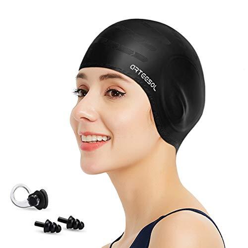 arteesol Badekappe - Silikon Badekappen Badehüte Anti-Rutsch wasserdichte Badekappe für Lange Haare Frauen und Männer (Schwarz)