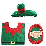 LBZLY Decoraciones de Navidad Estas Fiestas Fantasía de Navidad Decoración Feliz del Duende de Santa de Asiento de Inodoro Cubierta Alfombra de baño Set