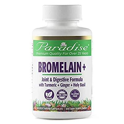 Paradise Herbs - Bromelain - Joint & Digestive Formula | Helps Support Healthy Inflammatory Response + Synergistic Herbs That Supports Gastro-intestinal Imbalances - 60 Count