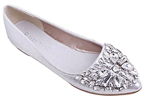 Minetom Damen Mädchen Mode Schuhe Spitze Schuhe Flache Ferse Bling Kristall Ballett Prinzessin Schuhe Silber 39
