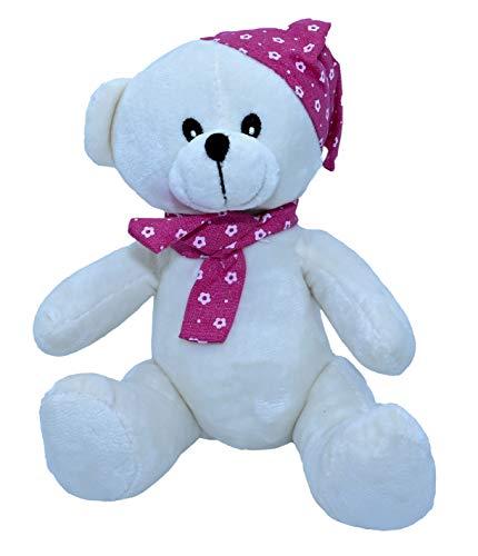 ML Ositos de Peluches para Bebes para abrazar con Felpa Muy Suave Dia de los Enamorados (Blanco Gorro)