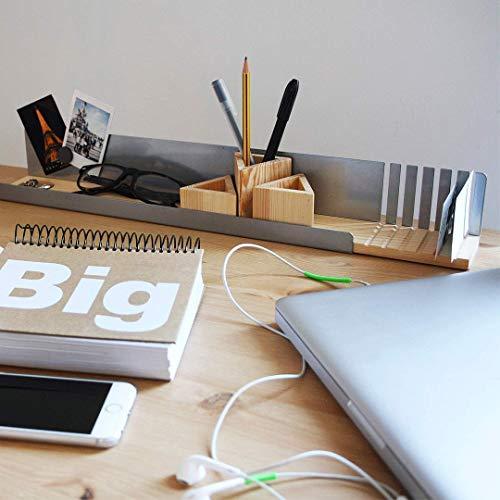 Organizador de escritorio\L\ de madera y metal. Ideal para mantaner la mesa de tu oficina limpia y ordenada. Especial para tarjetas, bolis, lapices, gafas, llaves, clips.