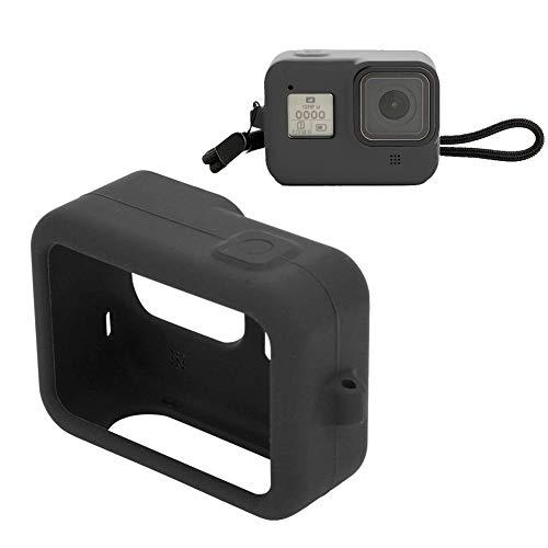 Topiky Zachte siliconen actiecamera, draagbaar silicone hoesje met waterdichte framebeschermfolie, behuizing met sleutelband voor GoPro Hero 8 sportcamera, zwart