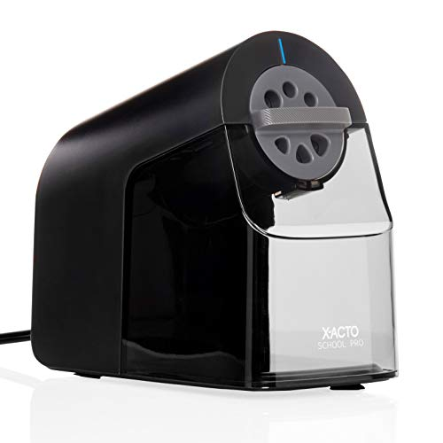 X-ACTO Pencil Sharpener | School Pro Electric Pencil Sharpener, With Six Size Dial, XL Shavings Bin, Black, 1 Count