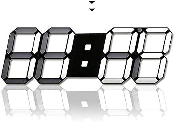 H JSHENLY 现代时尚大号 LED 数字挂钟 15 3 英寸 3D Led 台钟闹钟黑色