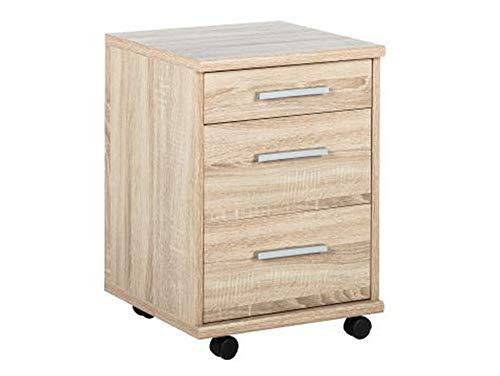 moebel-eins Office LINE Rollcontainer, Material Dekorspanplatte, Eiche sonomafarbig