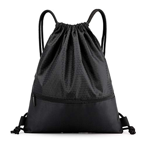 String Swim PE Bag, Sport Gym Sack Drawstring Bag Waterproof Drawstring Sport Bag with Outside Zipper for Sports Beach Holidays Swimming Travel(19.68x16.53 Inch, 50x42 CM, Black)