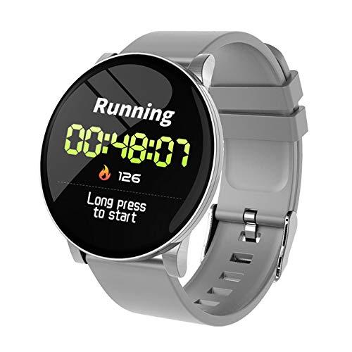 XuBa W8 Smartwatch voor dames, weersvoorspelling, fitness, sport-tracker, hartslagmonitor, smartwatch, Android, vrouwen, mannen, intelligente armband, Eén maat, zilver.