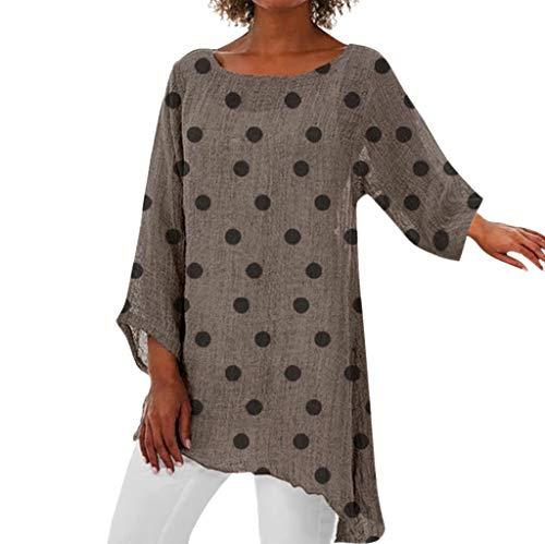 Xmiral Bluse Damen Punkt Drucken Tops Unregelmäßig Lange Ärmel Hemd Slim Fit Outdoor Sweatshirts Sweatshirts T-Shirt Pullover(Khaki,5XL)