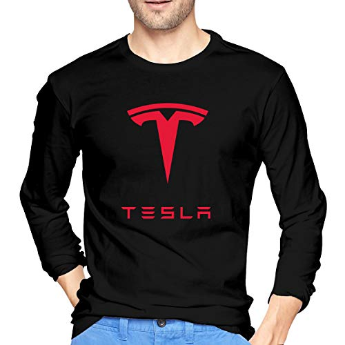 ArmyZ Herren T-Shirts Tesla-Logo Langarm Tee Casual Baumwolle Jersey Shirts M Schwarz