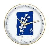 Boblen Reloj de Dormitorio sin ticipo de batería Creativa,Reloj de Mudo de Cuarzo for decoración de Oficina en el hogar,Reloj de Pared de Arte Azul de Klein (Color : Gold Frame, tamaño : 14in)