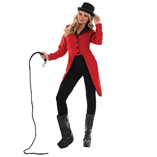 Fun Shack Rotes Zirkusdirektorin Kostüm für Damen, Dompteurin Verkleidung, Sexy Faschingskostüm - S