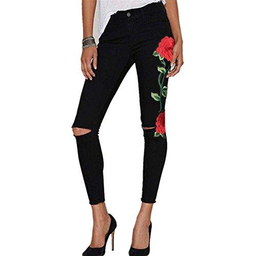 FRAUIT dames Floral geborduurde jeansbroek denim stretch-jeans dames met zwarte gat jeans broek leggings slim comfortabel mode elegant prachtig streetwear