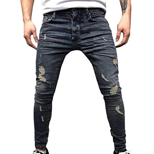 Jeans Uomo Stretti Alla Caviglia,Pantaloni jeans slim fit con fori distrutti piegati a vernice bianca,Allungare Jogger Autunno Inverno Alunno Casuale Cowboy Pantaloni Handsome/Blu1,30