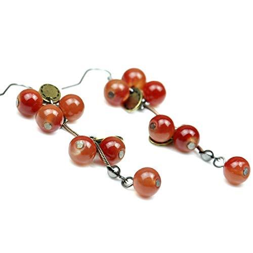 Pendiente Estilo Vintage Lindo Rojo Cuentas Frutas/Cereza Pendientes De Gota Lindo/Romántico De Las Mujeres Accesorios De Joyería