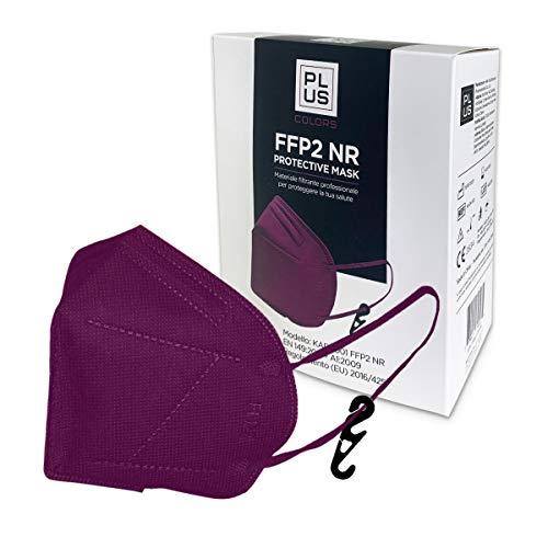 PLUS FFP2-Masken Lila mit bequemen Gummibändern, verstellbarem Nasenstück, Staub- und Pollensicherheit, weißem Interieur, CE-zertifiziert mit Haken Inklusive Packung mit 20 Stück