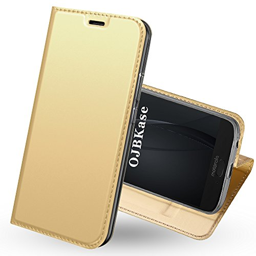 OJBKase Moto G6 Plus Hülle, Premium Slim PU Leder Handy Schutzhülle [Standfunktion] Hülle/Cover/Brieftasche/Ledertasche Bookstyle Tasche Lederhülle Handyhülle für Motorola Moto G6 Plus (Gold)