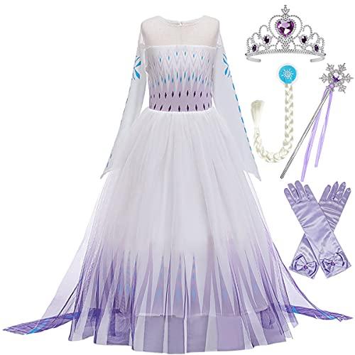 LOBTY Fille Elsa Princesse Costume Robe avec Châle Reine des Neiges Reine des Neiges 2 Halloween Fête d'anniversaire De Noël Cosplay Bleu Déguisement 3-12 Ans 130cm