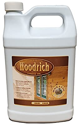 Timber Oil Deep Penetrating Stain for Wood Decks, Wood Fences, Wood Siding, and Log Cabins - 1 Gallon 4 Colors Available - Woodrich Brand - Covers up to 150 Square Feet - 100% Guaranteed - Easy to Use