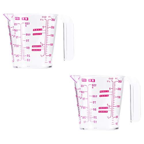 Hemoton 2 Stück Kunststoff Messbecher Klare Flüssigkeit Messbecher mit Deckel Epoxid-Mischbecher Messbehälter zum Messen von Farbe Fleck Epoxid 250Ml
