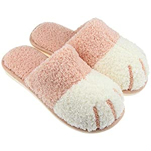 Jugaogao House Slippers for Women, Cute Fluffy Fuzzy Slippers Shoes with Memory Foam for Indoor Home Using