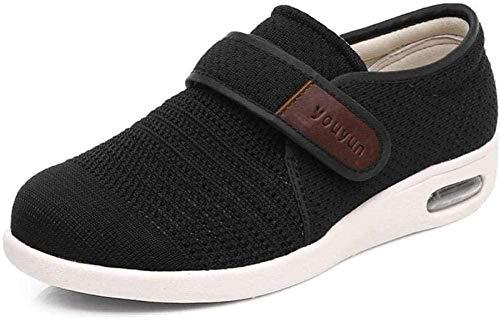 Sneakers De Cojín De Aire Zapatos De Caminata Ancianos, Zapatos De Hinchazón Transpirables, Zapatos Para Hombres Cómodos Y Cómodos Para Hombres, Deslizamiento De Mujeres En Deslizamiento,Black-40