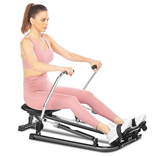 ANCHEER Hydraulic Rowing Machine, Full Motion Adjustable Rower with 12 Level Resistance & Soft Seat & LCD Monitor & 45 Inch Long Rail for Indoor Cardio Exercise, Home/Apartment (Dark)