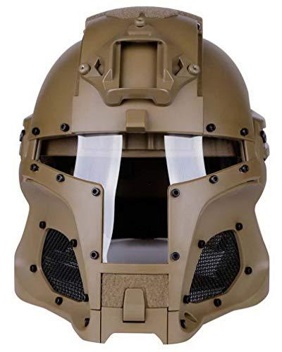 Simways Cosplay Airsoft Full Face Head Helmet Tactical Riding Sorta-Kinda Mandalorian/Boba Fett/Galac-Tac/Star Wars Airsoft Helmet with Exchangable Lens(Tan)