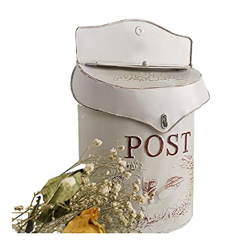 MARXIAO Mailbox Retro Wand Briefkasten Wandbriefkasten Postkasten Mailbox Metall Landhaus Post Zeitung Vogel Motiv Briefkastenanlage Farbiger Letterbox Abschließbar Mit Klappe,Weiß
