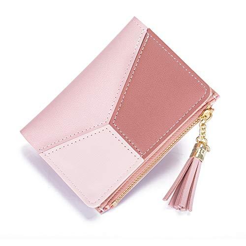 Geldbörse Damen KOOGOO Quaste PU Leder Multi-Slots Kartenhalter Mädchen Reißverschluss Klein Portemonnaie (Pink)