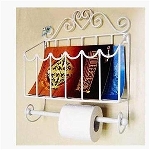 Moda Muebles de Hierro Forjado Papel Toalla Titular revistero Pared baño-Blanco