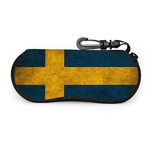AEMAPE Schweden Flagge Brillenetui mit Karabiner - Leichtgewicht | Tragbar | Weich | Sonnenbrillenetui aus Neopren mit Reißverschluss