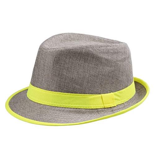 Sombrero De Paja Unisex Mujer Neón para De O Modernas Casual para...