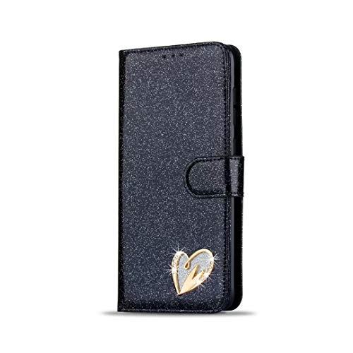 Funda para iPhone SE 2020, con purpurina brillante [corazón amoroso] a prueba de golpes, de piel sintética, suave, con función atril, tarjetero, ranura para identificación, tapa protectora
