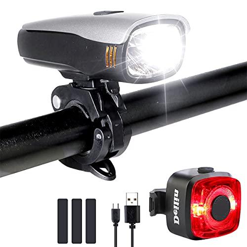Fahrradlicht Set, 80 Lux Fahrrad Licht USB Aufladbar LED Fahrradbeleuchtung, StVZO IPX5 Wasserdicht Fahrradlichter 2600mAh Frontlicht & Rücklicht mit 2 Licht-Modi Fahrradlampe für Kinder & Erwachsene