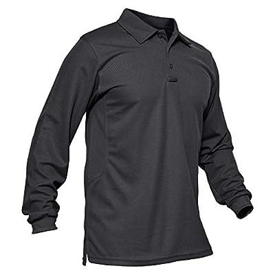 MAGCOMSEN Tactical Polo Shirt Men Long Sleeve Polo Shirts for Men T Shirts Golf Shirts Fishing Shirts Hiking Shirt Pique Polo Shirt for Men Grey