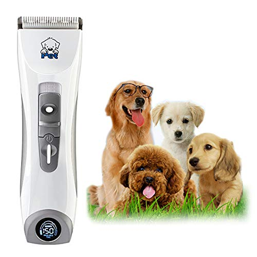 WYQWANLJX Pet Grooming Clippers, Pet Professional Quiet Low Noise Rechargeable Dog Grooming Clippers Cordless Pet Hair Trimmer, LED Display, Best Hair Clipper for Dogs Cats Pets