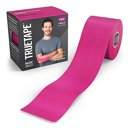 TRUETAPE® Basic - Kinesiotape   5m x 5cm Rolle   wasserfestes & elastisches Kinesiologie Tape für den Alltag   hautfreundlich mit perfektem Tragekomfort I Pink