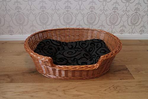 Marcus Hundebett mit Einstieg aus Weide und Kissen Hundekorb Weidenbett Katzenbett Hundekörbchen