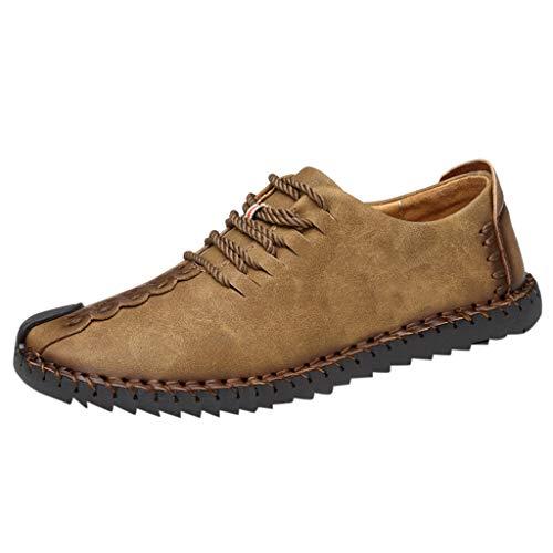 Men Stitching Breathable Dress Shoes Anti-Slip Comfortable Classic Slip On Walking Sneakers Boat Shoes Khaki