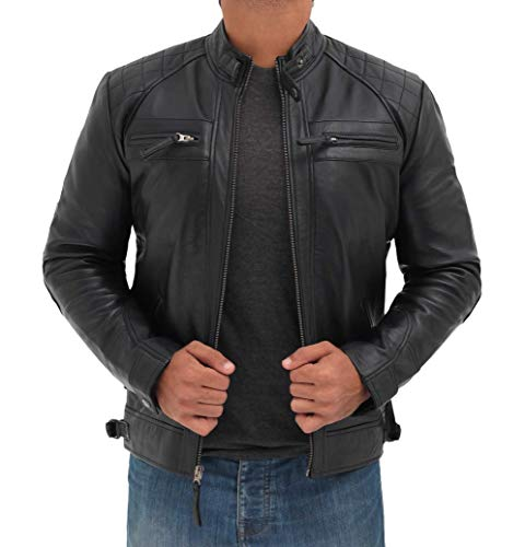 Blingsoul Cafe Racer Real Leather Motorcycle Jacket Men | [1100096] Johnson Real Black, 2XL