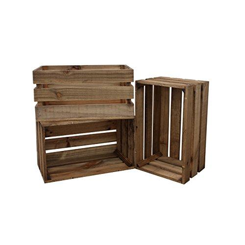 Decowood - Pack de 3 Cajas Fabricadas en Madera de Pino Gallego - Tamaño Grande - Color Marrón - Acabado Envejecido - Tamaño 49 x 25,5 x 30,5 cm