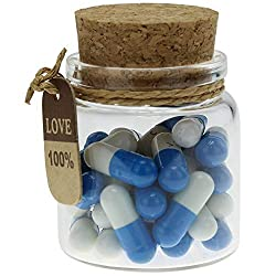 Capsule Letters Message in a bottle Glass 25pcs Dark Blue