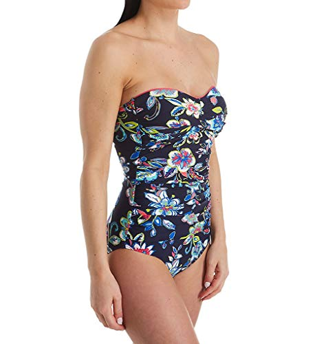 Anne Cole Women's Twist Front Shirred One Piece Swimsuit, Holiday Paisley, 10