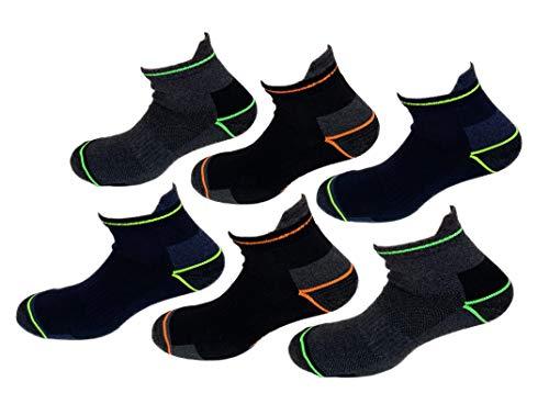 Lucchetti Socks Milano Calze da lavoro altezza caviglia cotone 6 PAIA rinforzate punta e tallone per scarpe antinfortunistiche alta resistenza (43-46, 6 PAIA)